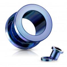 Tunel do ucha z 316L ocele - lesklý povrch modrej farby