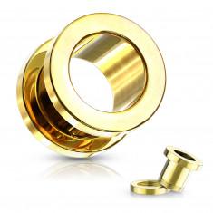 Tunel do ucha z 316L ocele - lesklý povrch zlatej farby