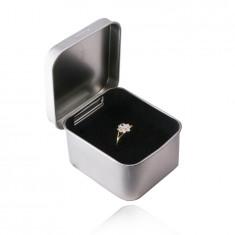 Метална подаръчна кутия за бижу – сребрист цвят, сатенена повърхност