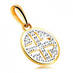 Златна висулка от жълто злато проба 585 – кръг, украсен с обли цирконии, черно покритие