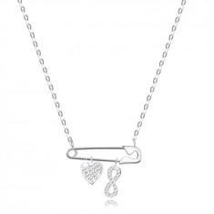 Сребърно колие проба 925 – безопасна игла с висулки във формата на сърце и знака за безкрайност, прозрачни цирконии