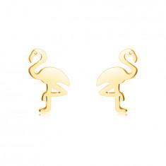 14К златни обеци – фламинго, стоящо на един крак, гладка повърхност, на винт