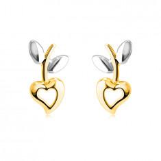 Обеци, направени от комбинирано 14К злато – сърце с прорез, стъбло с листа, на винт