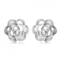 Сребърни обеци проба 925 – изрязана роза с венчелистчета, на винт