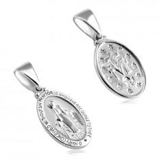 Двустранна сребърна висулка проба 925 – овален медальон с Дева Мария, матова повърхност