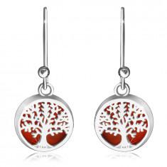 Висящи сребърни обеци проба 925 – гладък пръстен, дървото на живота на червен фон