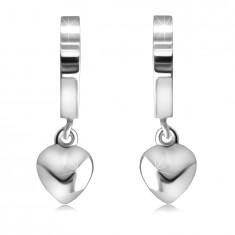 Сребърни обеци проба 925 на панти – огледално-полирани халки със сърце, гладка повърхност