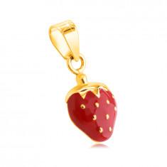 Висулка от 14К жълто злато – ягода с червен гланц, златисти семки