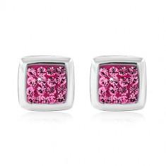 Сребърни обеци проба 925 – лъскав квадрат, украсен с розови цирконии, на винт