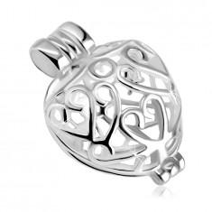 Закопчаваща се висулка от сребро проба 925 – изпъкнало сърце с орнаменти, лъскава повърхност