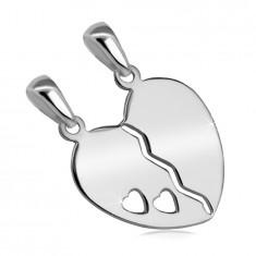 925 сребърна двойна висулка – разделящо се сърце с прорез и две малки сърца