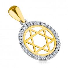 Висулка, направена от комбинирано 14К злато - Звездата на Давид в кръг с циркониев контур