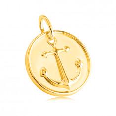 Висулка, направена от жълто злато проба 585 - кръгла плочка, мотив на морска котва