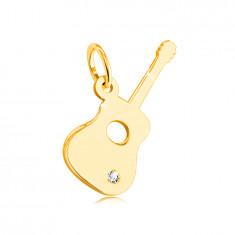 Висулка от 14К жълто злато - китара с прозарчен цирконий в долната част