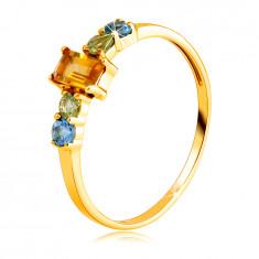 Пръстен от 14К жълто злато - правоъгълен цитрин, кръгъл оливин и Швейцарски топаз