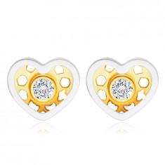 Диамантени обеци от комбинирано 14К злато - сърце, кръгъл, прозрачен брилянт
