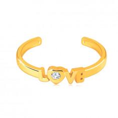 """Диамантен пръстен от 14К жълто злато с отврени рамене - надпис """"LOVE"""", брилянт"""