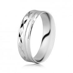 925 сребърен пръстен - повърхност с диагонално набраздяване, резки във Х-форма, тънки линии
