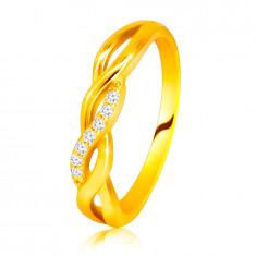 Лъскав пръстен от 14К жълто злато - преплетени вълни, линия от брилянти