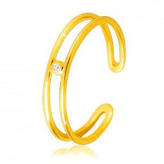 Диамантен пръстен от 14К жълто злато - тънки отворени рамене, прозрачен брилянт