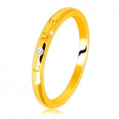 """Диамантена халка от 14К жълто злато - надпис """"LOVE"""" с брилянт, гладка повърхност, 1.5 мм"""