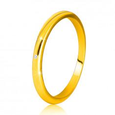 Диамантен пръстен от 14К жълто злато - тънки гладки рамене, прозрачен брилянт