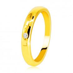 """Диамантена халка от жълто злато проба 585 - надпис """"LOVE"""" с брилянт, гладка повърхност, 1.6 мм"""