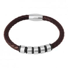 Тъмнокафява кожена гривна - сплетен шнур с метални ролки и гумички, магнитна закопчалка