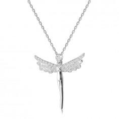 Колие от сребро проба 925 - фигура на ангел, крила, инкрустирани с прозрачни цирконии