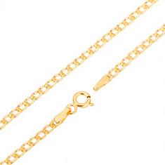 585 златна верижка - леко извити елипсовидни звена, плоски отстрани, 500 мм