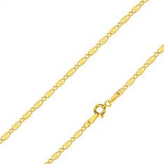 Верижка от 14К жълто злато - удължени звена с радиално набраздяване и овални звена, 450 мм