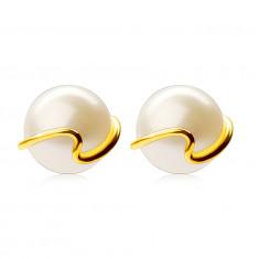 375 златни обеци - култивирана бяла перла, тънка вълниста линия, на винт