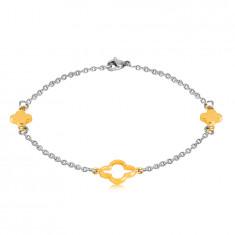 Стоманена гривна в златен и сребърн цвят - по-малки цветя, контур на цвете в средата