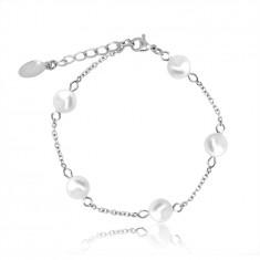 Стоманена гривна в сребърен цвят, перлени мъниста на верижка