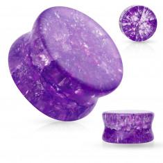 Стъклена седловидна тапа за ухо със заоблени ръбове, прозрачен, лилав цвят, счупен ефект