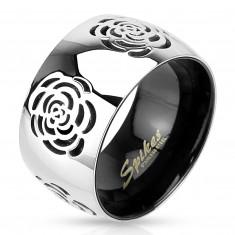 Пръстен от стомана 316L, сребристо-черен цветен дизайн, гравирани рози