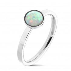 Сребрист стоманен пръстен, синтетичен опал с многоцветни отражения, тесни рамене