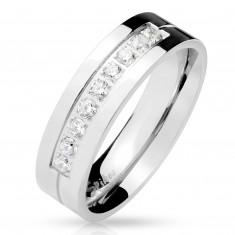 Сребрист стоманен пръстен, девет прозрачни цирконии в прорез, блестяща повърхност, 6 мм