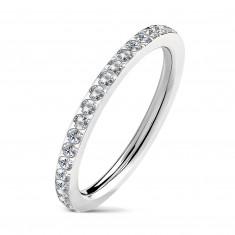 Пръстен с прозрачни цирконии, в сребърен дизайн, стоманен пръстен
