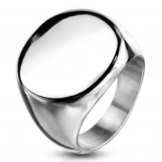 Пръстен от хирургическа стомана, плосък лъскав кръг, сребърен цвят