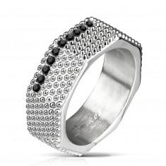 Стоманен пръстен - индустриален стил, масивен винт с издатини и черни цирконии