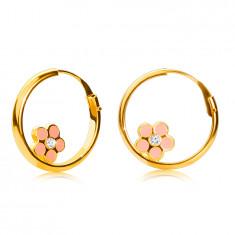 Златни кръгли обеци от 14K злато, розово цвете, лъскава повърхност, 15 мм