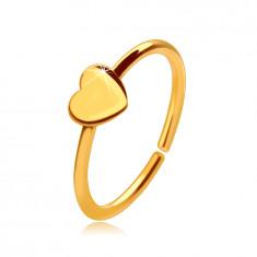 Златен 14K пиърсинг за нос, лъскав пръстен с малко сърце, 8 мм