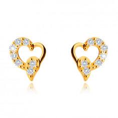 Асиметрични обеци от жълто 9K злато, сърце със сълза, прозрачни цирконии, на винт