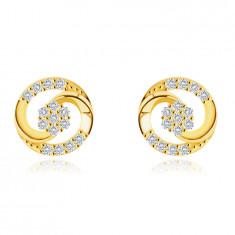 Обеци, направени от 9К злато - контур на кръг, оформен от две свързани капки, цирконии