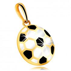 Златна 9-каратова висулка – изпъкнала футболна топка с черен и бял гланц, куха задна част