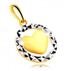 Висулка от комбинирано злато проба 375 – очертание на кръг с триъгълни изрези, изпъкнало сърце