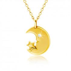 Колие от жълто 9K злато - луна с прозрачно око от цирконий, звезда
