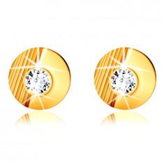 9K златни обеци - кръг с резки, гладък полукръг, инкрустиран с кръгъл цирконий, на винт