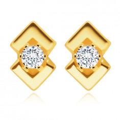 Обеци от жълто злато проба 375 – кръгъл прозрачен цирконий, два лъскави триъгълника